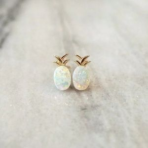 Delicate opal pineapple earrings studs (gold)